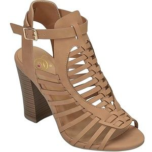 New Sand Woven Strappy Block High Heel Sandals